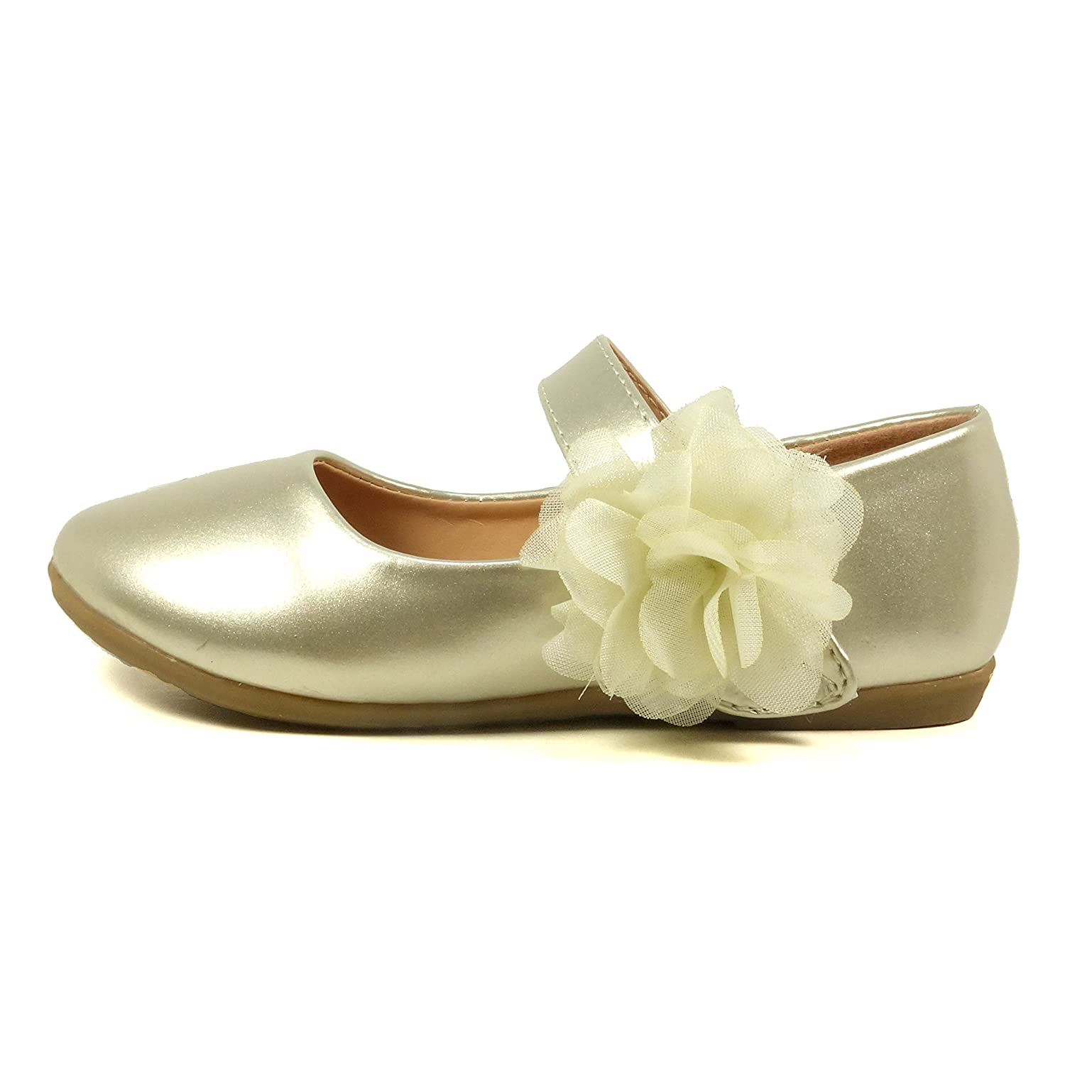 3a40b5a7ac55 Nova Utopia Gold Toddler Little Girls Flower Flower Girl Dress Ballet  Toddler Mary Jane Bow Flat Shoes Flower M - Gold 6acc4f5 -  www.digital-law-library. ...