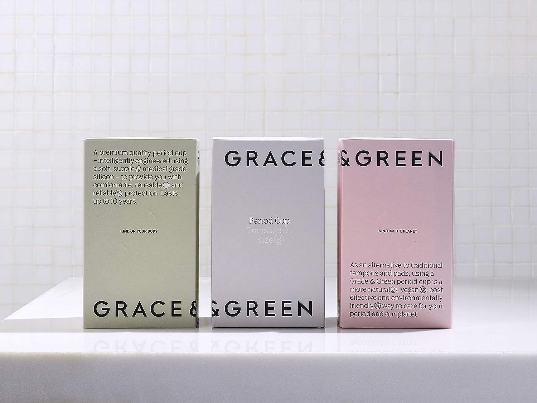 Grace & Green Period - Taza menstrual – Calidad y diseño premium – Cómodo de llevar hasta 12 horas – suave, flexible, reutilizable durante 10 años – ...