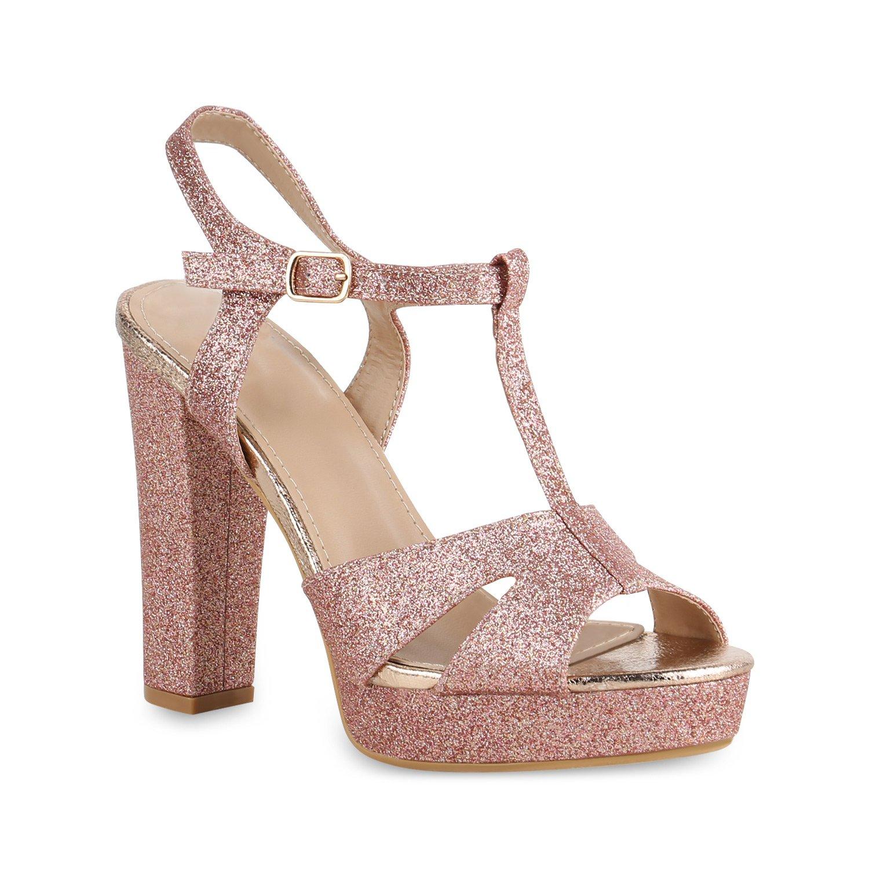 Stiefelparadies Damen Plateau Sandaletten mit Blockabsatz Samtoptik Glitzer Flandell Rose Gold Cabanas