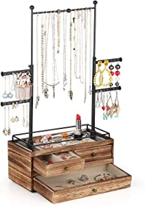 Jewelry Organizer - 2 Layer Wooden Jewelry Drawer Storage Box with 6 Tier Jewelry Tree Stand, Jewelry Display for Necklaces Bracelet Earring Ring (Carbonized Black)