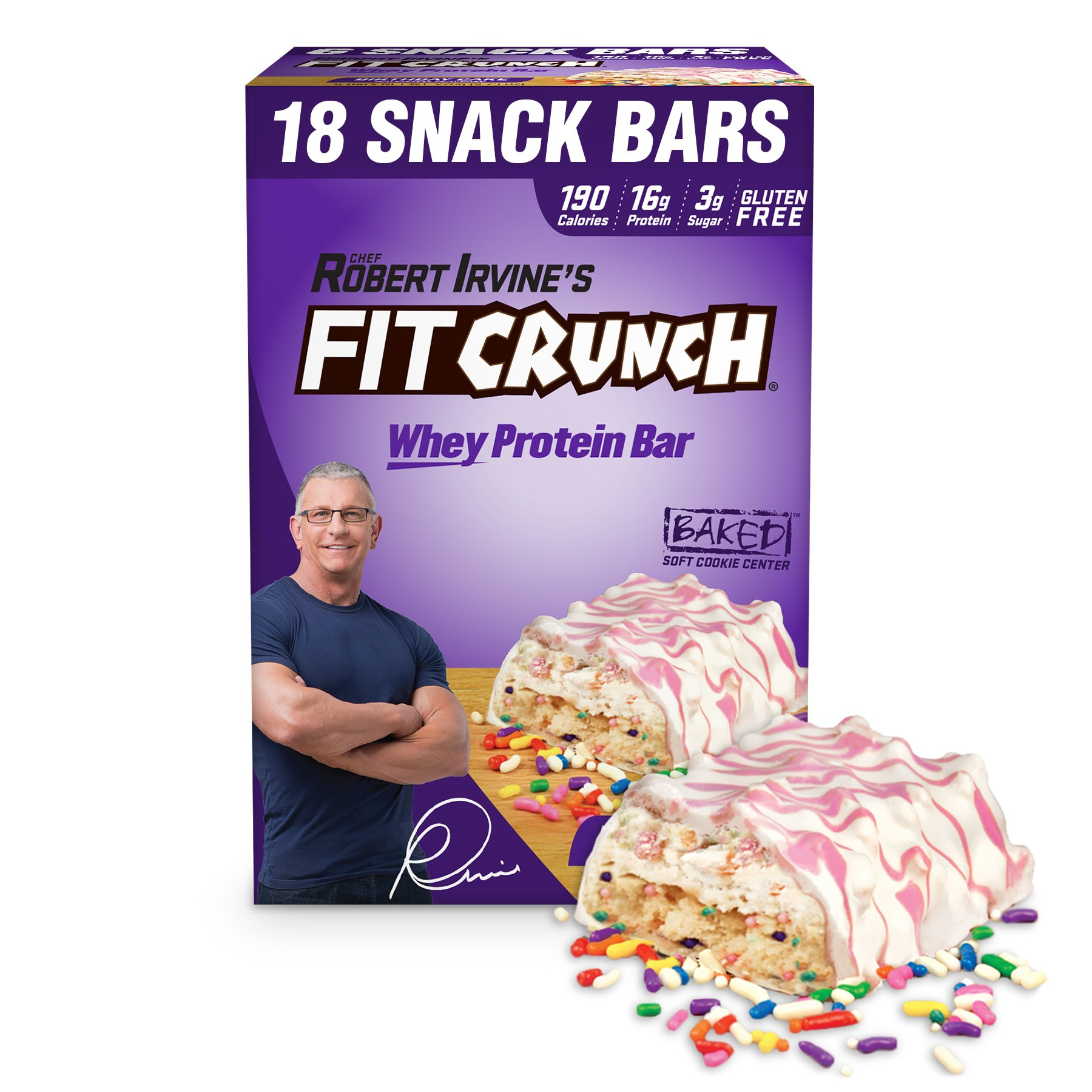 FITCRUNCH Snack Size Protein Bars | Designed by Robert Irvine | World's Only 6-Layer Baked Bar | Just 3g of Sugar & Soft Cake Core (18 Snack Size Bars, Birthday Cake) by Fit Crunch
