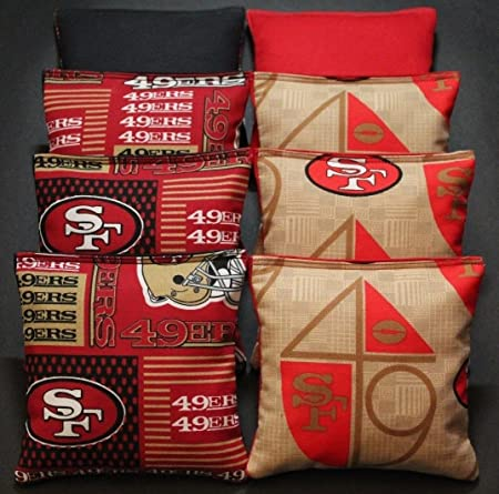 ALL WEATHER SAN FRANSISCO 49er Cornhole Bean Bags Resin Filled WATERPROOF