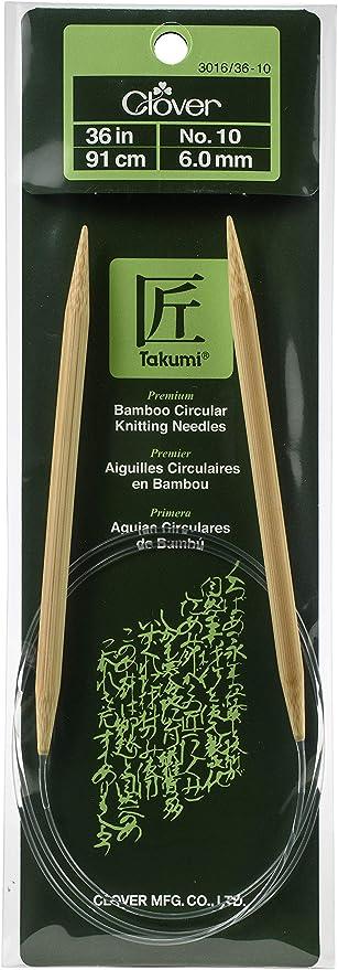 Clover Takumi Bamboo Circular 36-Inch Knitting Needles Size 10.5