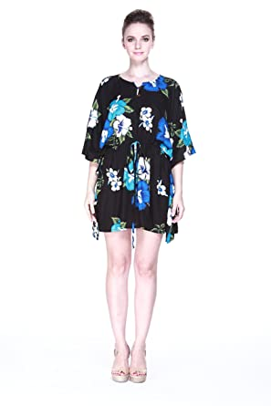 Tropical Groups Womens Hawaiian Poncho with Tie Dress in Black with Blue Floral