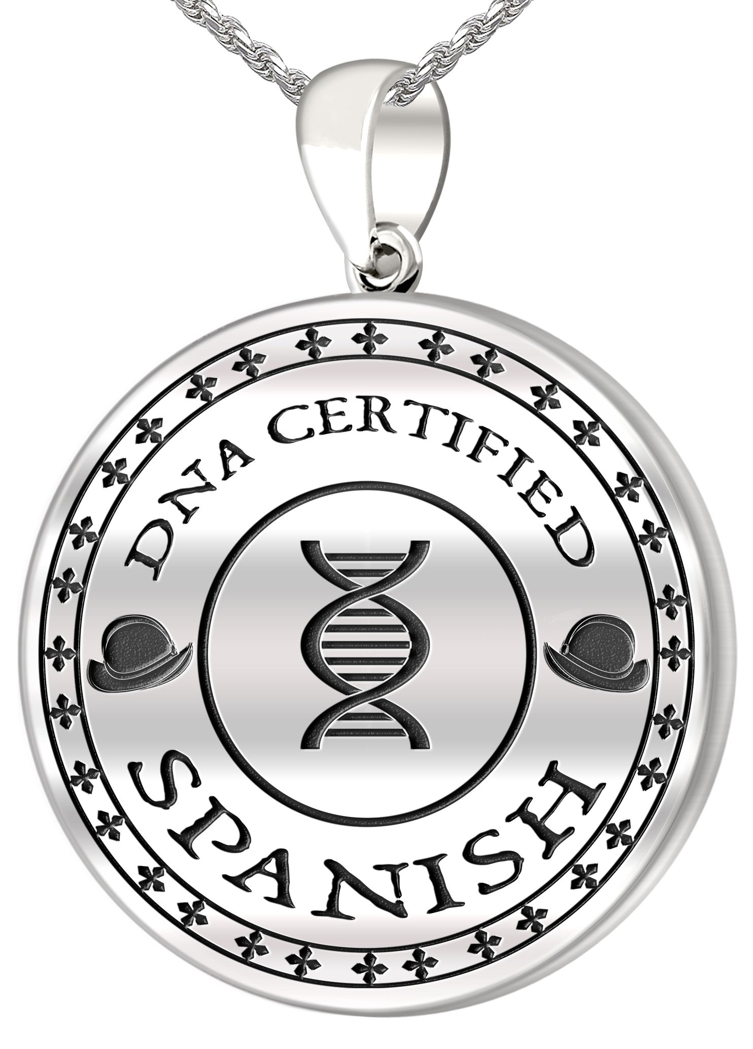 0.925 Sterling Silver 1in DNA Certified Spanish Heritage Pendant Medal with Flag 3.3mm Rope Necklace, 18''