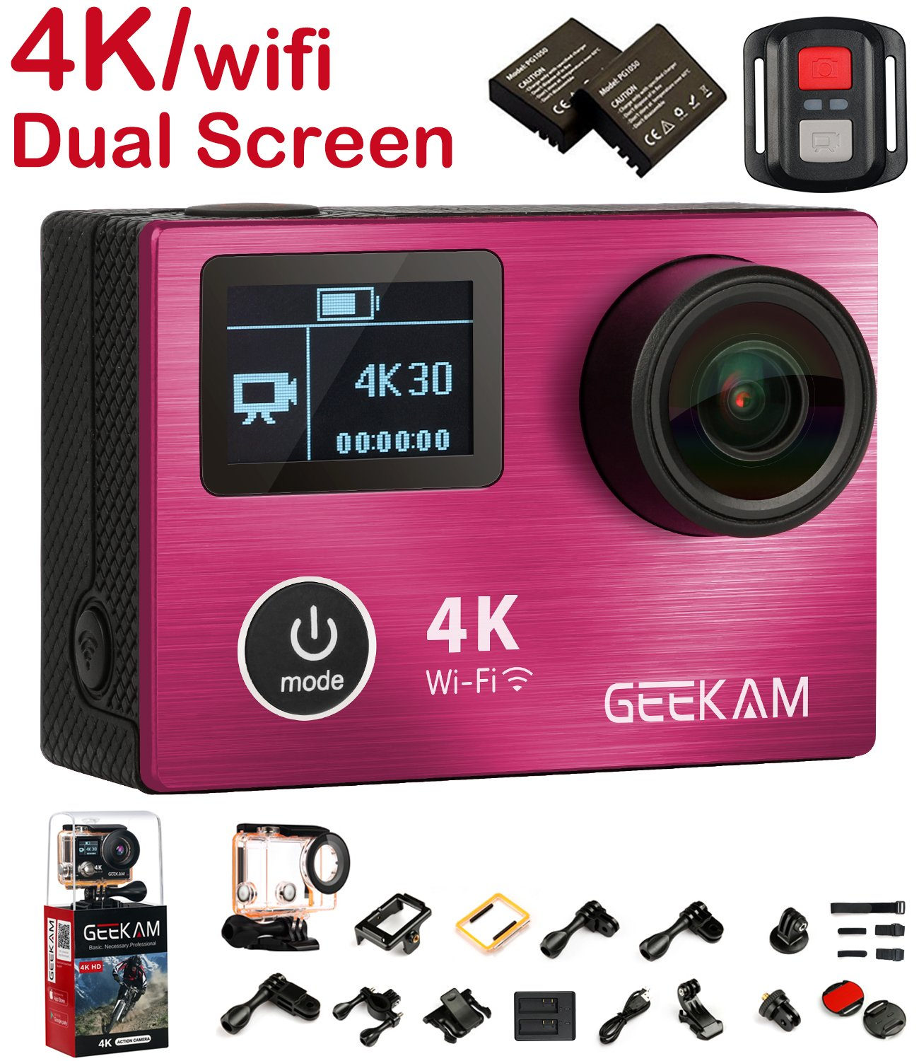 Action Camera 4K, 4K Action Camera Waterproof with Dual Screen Aluminium Alloy Front Cover Panasonic CMOS Wifi 2.4G Remote Control HDMI 170 Wide Angle