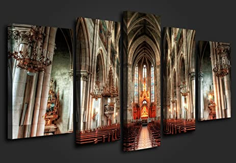 5 Panel Wall Art Painting Prague StVitus Cathedral Gothic Architecture The Church Pictures Religious