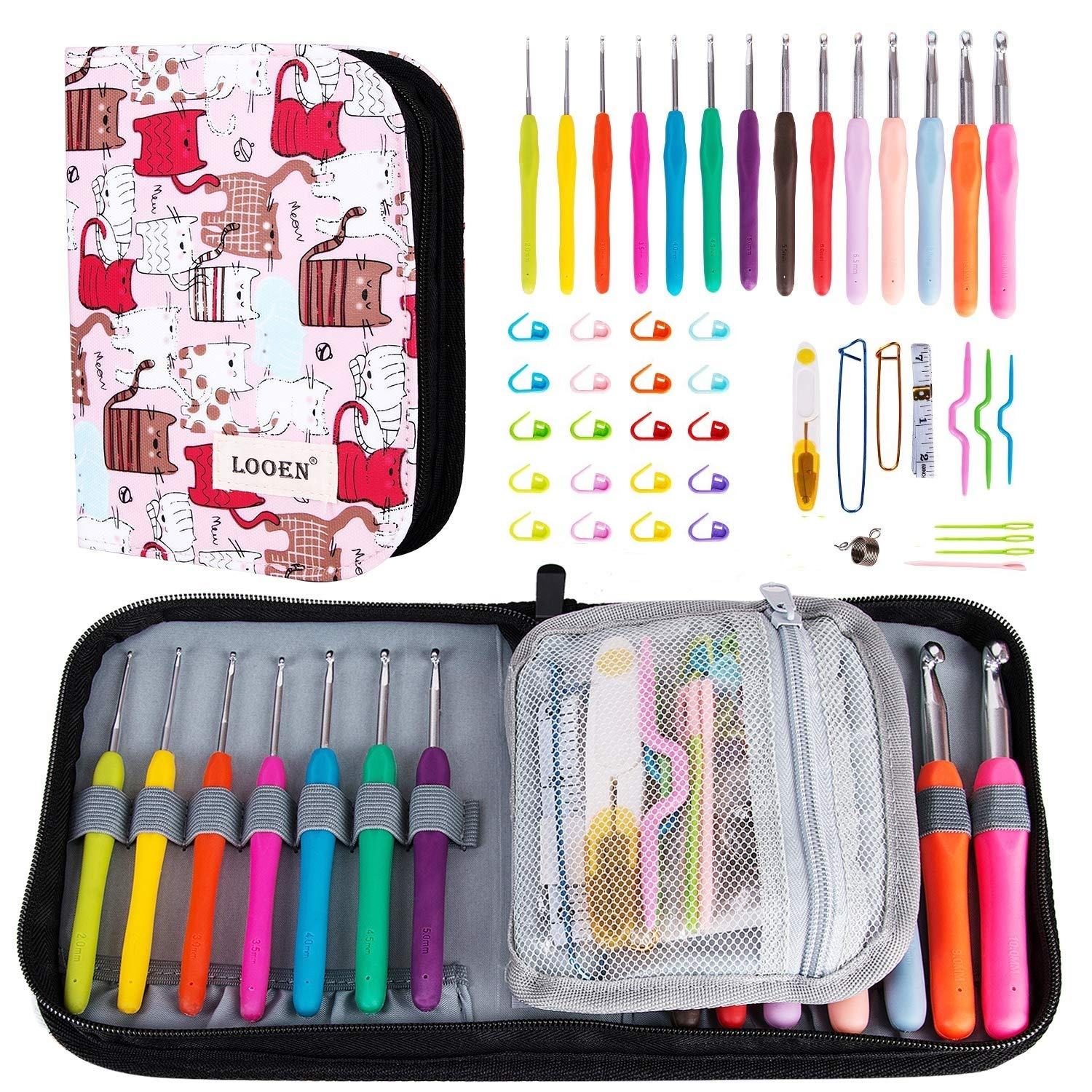K Kwokker 48 Pieces Ergonomic Crochet Hooks Set with Cartoon Cat Case Grip Crochet Kit and Accessories for Beginners and Crocheters, Complete Accessories, Small Volume and Convenient to Carry, Pink