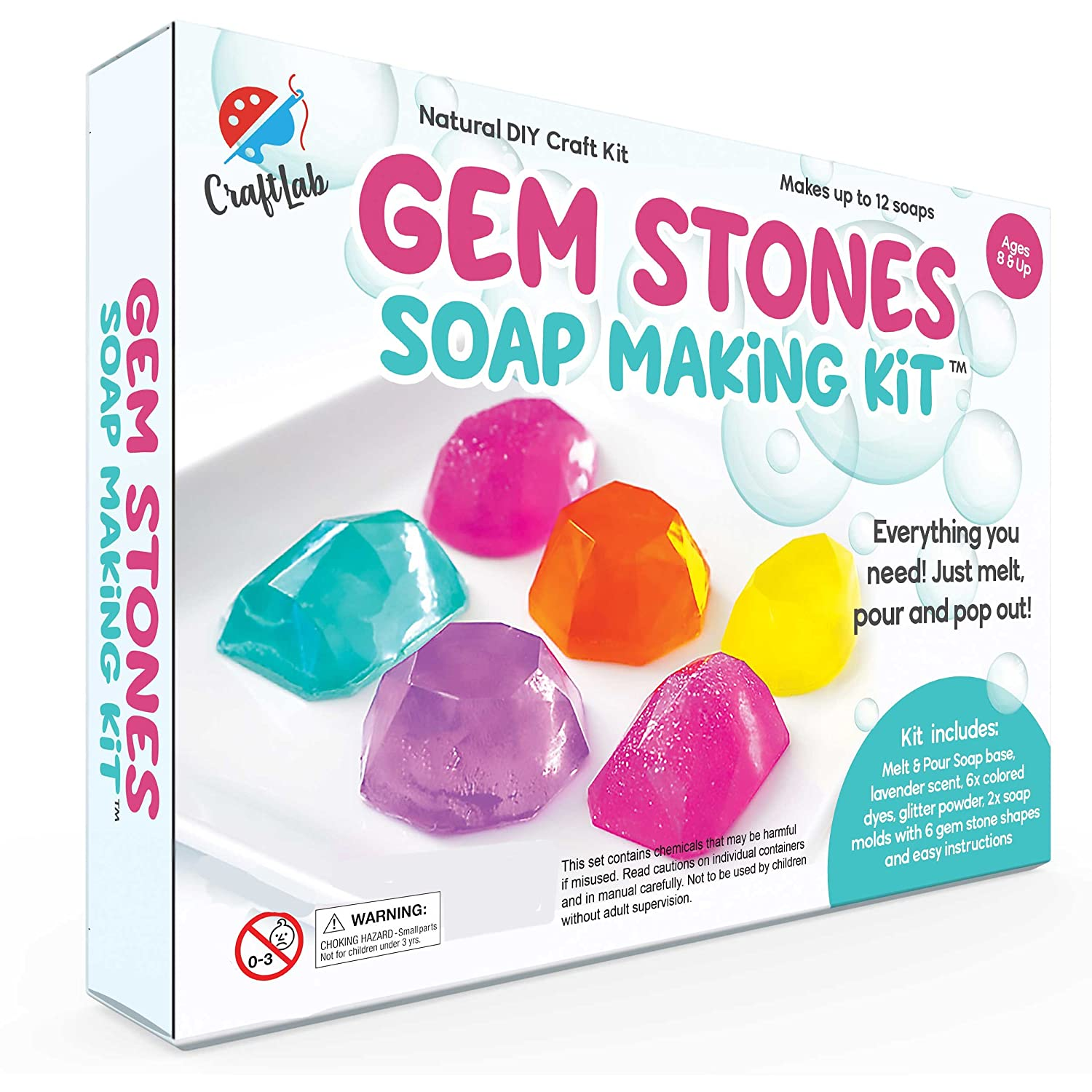 Gem Stones Soap Making Kit, Great DIY Craft Project, Gift & STEM Science Experiment for Kids Ages 8 and Up Handcrafted Goods