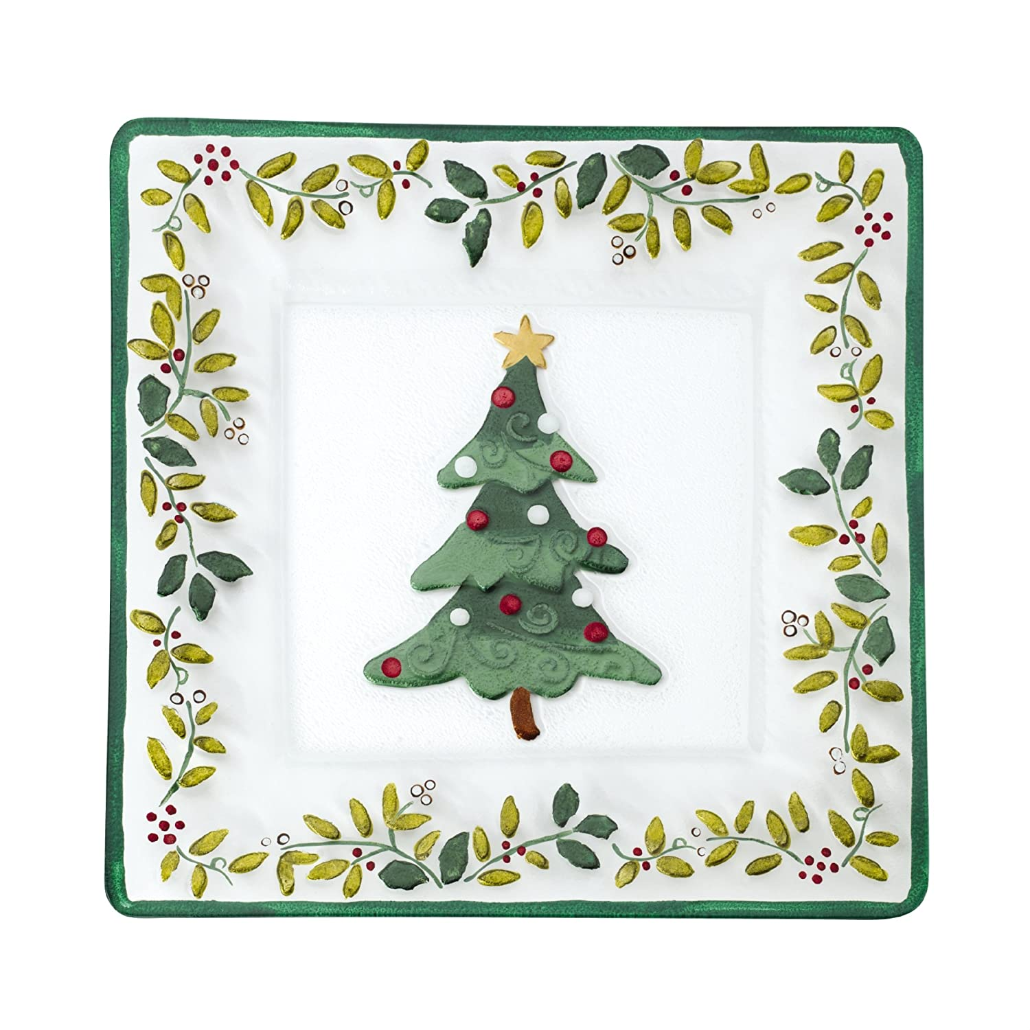 Amazon.com | Pfaltzgraff Winterberry Handpainted Square Glass ...