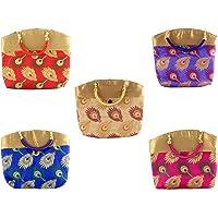 GoldGiftIdeas Women's Bridal Satin Silk Potli Multicolour Purse (Set of 5)