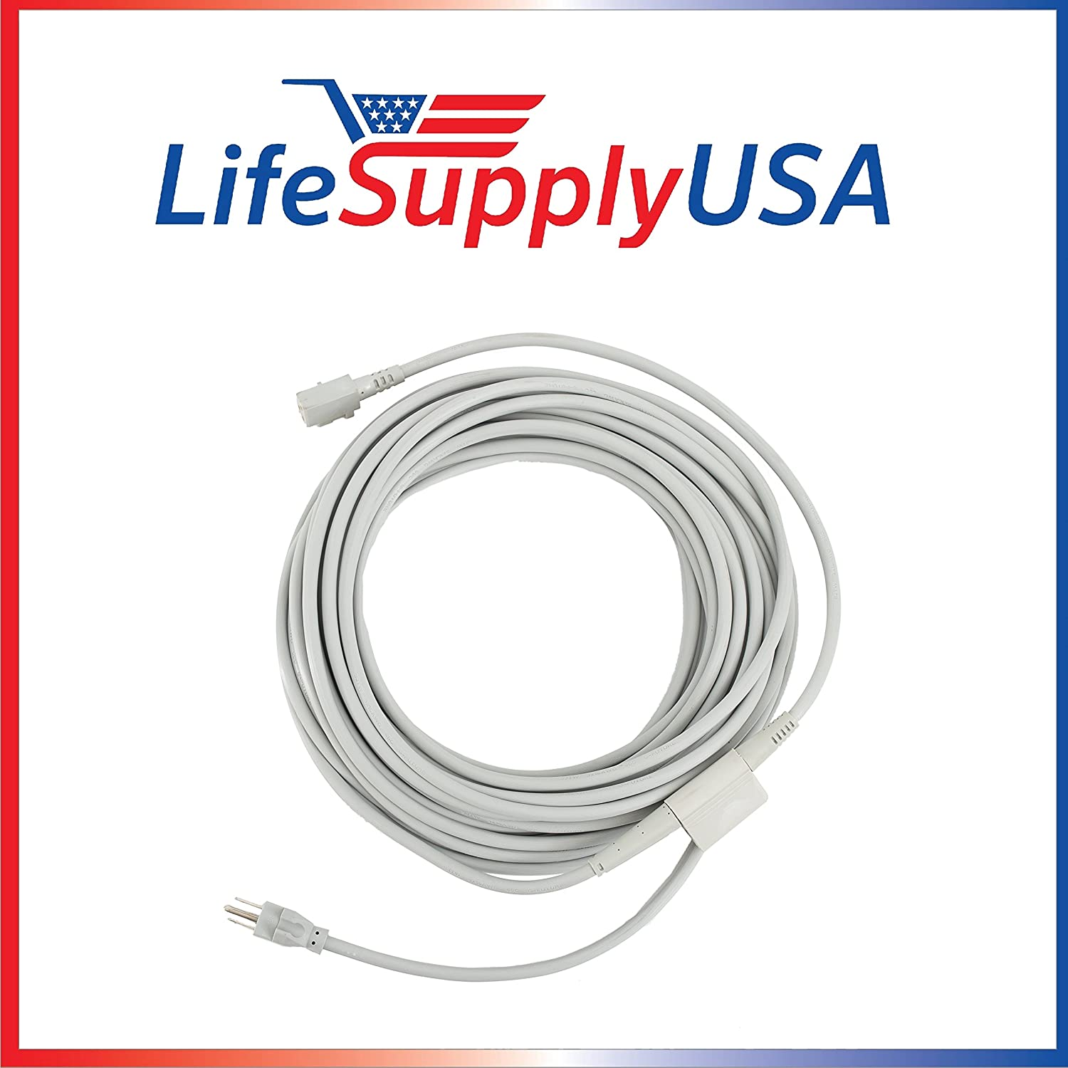LifeSupplyUSA 50ft Power Cord for Upright Vacuum Cleaners fits Electrolux Prolux 2000, Xtreme U139A, Sanitaire SC6600 and Others, Part 39857 (50 feet, Gray)