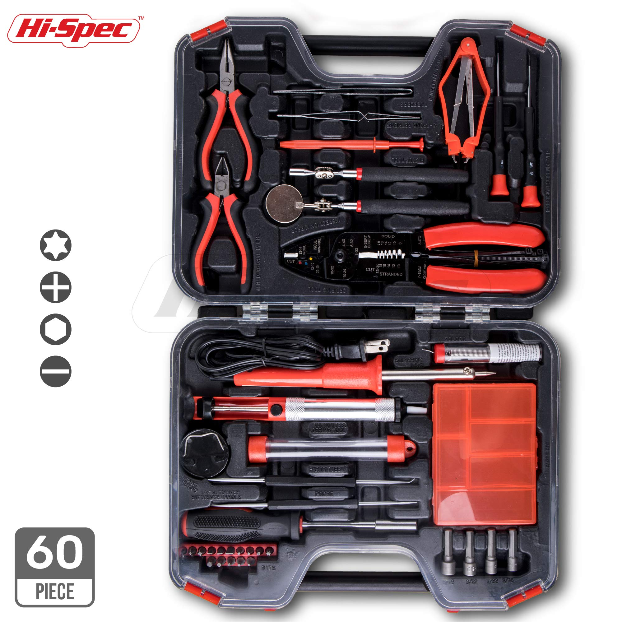 Hi-Spec 60 Piece Electronics Electrical Engineer DIY Tool Kit Set with 30W Soldering Iron, Solder Wire Desoldering Pump, 3-in-1 Wire Stripper / Cutter / Bolt Cutter & Precision Tools In Tool Case