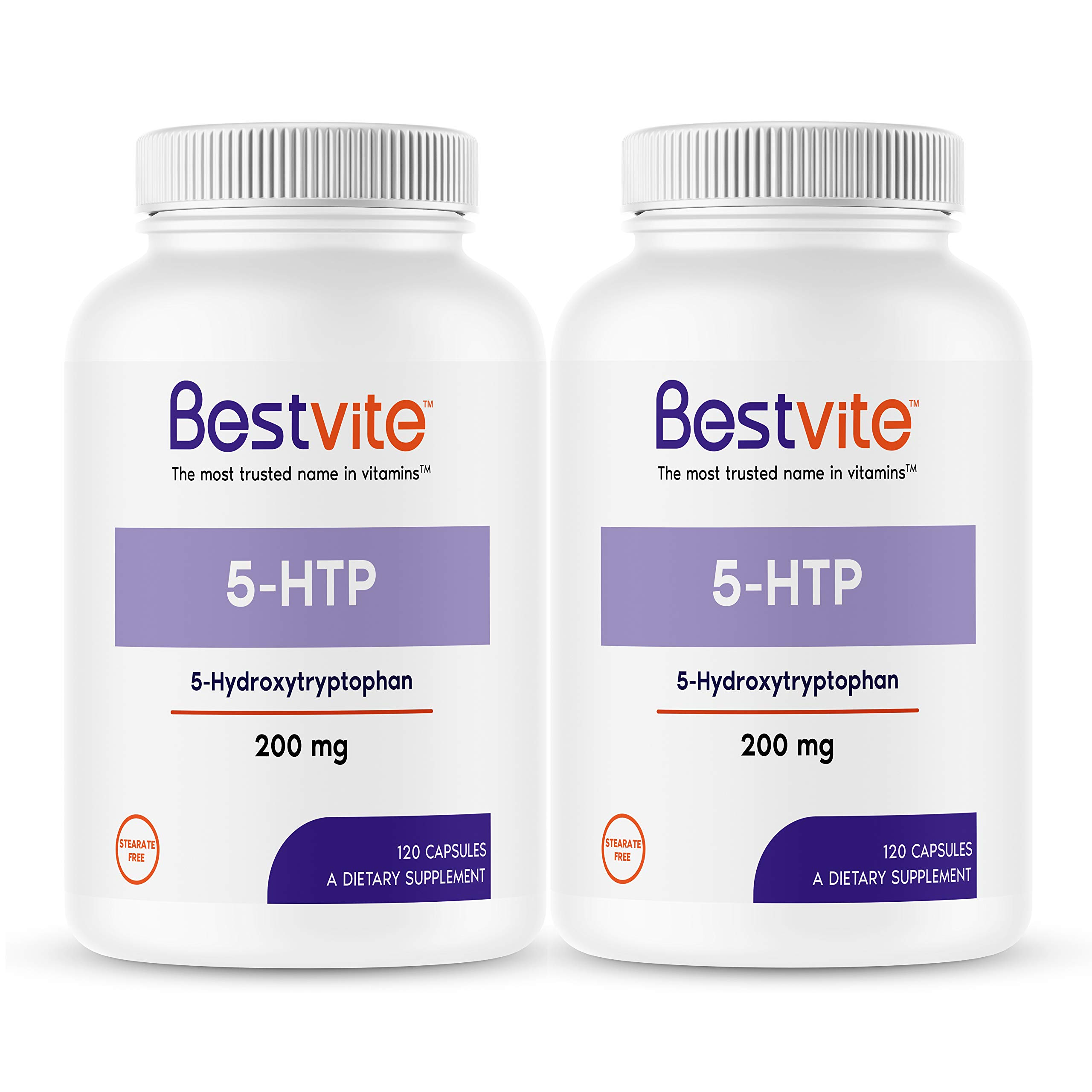 5-HTP 200mg (240 Capsules) (2-Pack) - No Stearates or Flow Agents