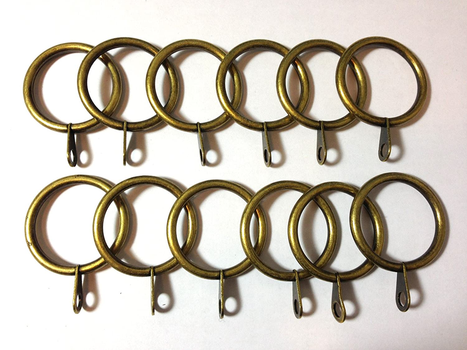 12x Satin Golden Metal Curtain Pole / Rail / Rod Stylish Rings for Clips Hanging SystemsEleven