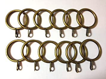 12x Satin Golden Metal Curtain Pole / Rail / Rod Stylish Rings for ...