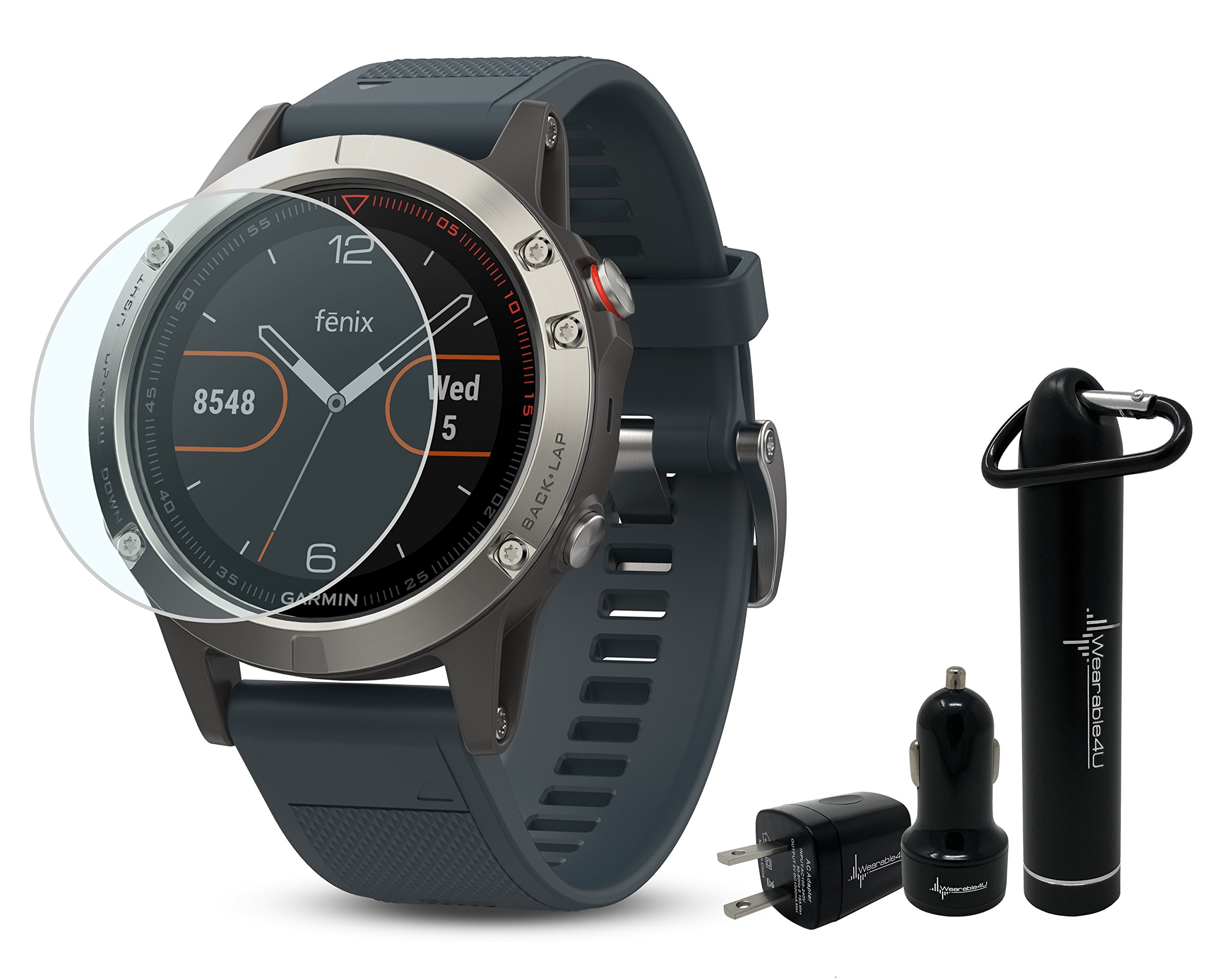 Garmin Fenix 5 GPS Multisport Watch Ultimate Bundle | Includes Garmin Fenix 5 Watch (47mm), HD Glass Screen Protector, Wearable4U Power Bank, Wearable4U Car / Wall USB Charging Adapters |