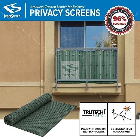 Fenpro Balcony Privacy Screen PVC Slat Roll for Apartment Balcony Privacy  Screen (Green)