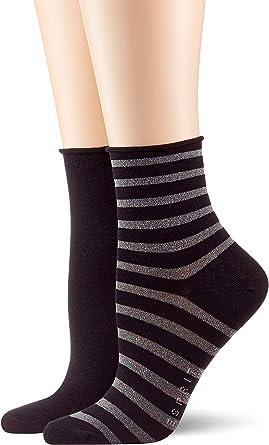 Esprit Damen Socken Luminous Stripe 2er Pack Baumwollmischung 2 Paare Versch Farben Größe 35 42 Kurzstrümpfe Im Doppelpack Mit Streifen Und Rollrand Nicht Einschnürend Bekleidung