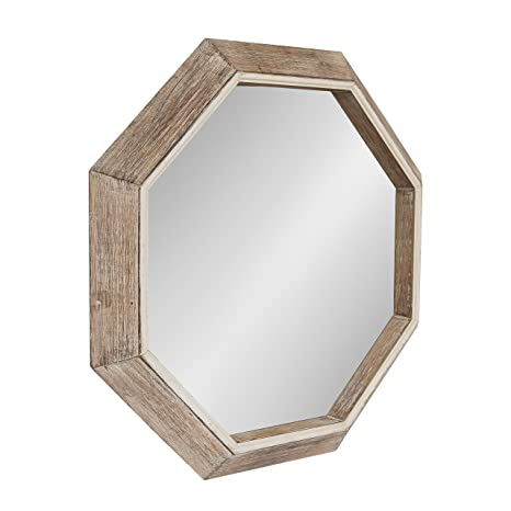 Kate and Laurel Yves Large Rustic Wooden Octagon Wall Mirror, Rustic, 30x30