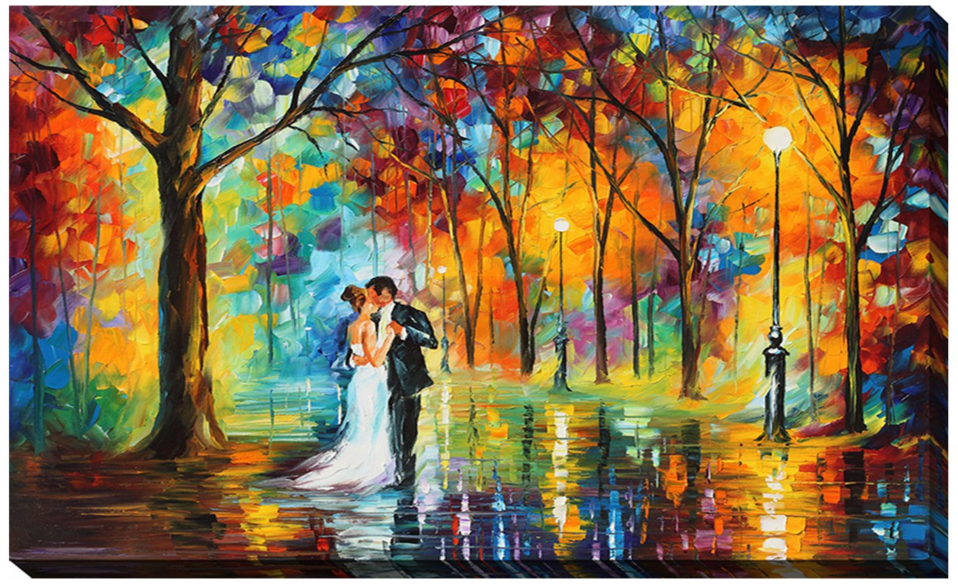 Picture Perfect International ''Rainy Wedding'' by Leonid Afremov Giclee Stretched Canvas Wall Art, 24'' x 40'' x 1'' by Picture Perfect International