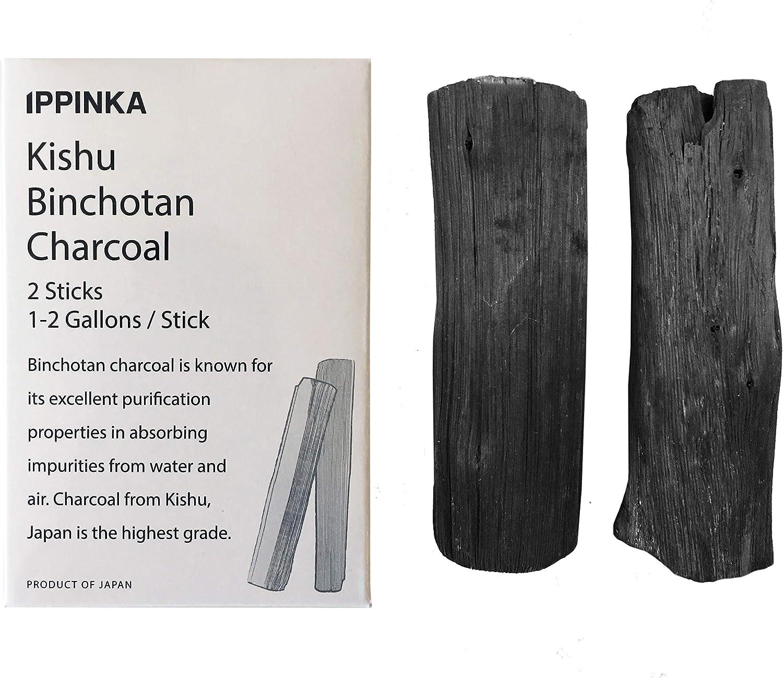 Kishu Binchotan Charcoal Sticks, 2 Sticks, 1 Stick Filters Up 1-2 Gallons of Water