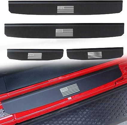 Sukemichi Entry Guard USA Flag Aluminum Alloy Door Sill Plate Protector Scuff Plate Protector for Jeep Wrangler JL Sahara Rubicon 4 Doors