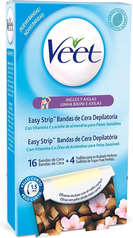 Veet - Bandas de Cera Depilatoria - Pieles Sensibles - 16 bandas: Amazon.es: Salud y cuidado personal