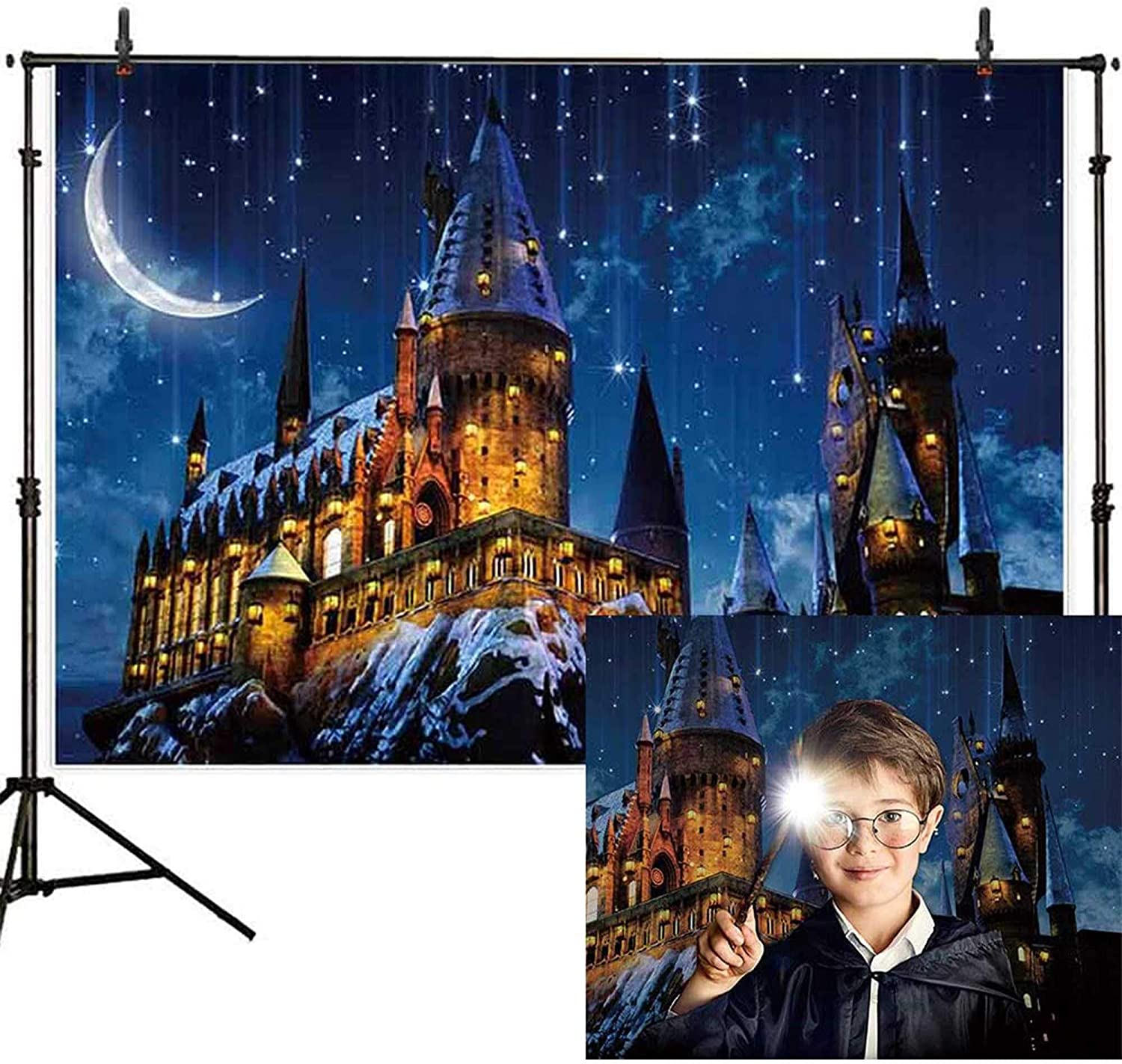 Allenjoy 7x5ft Magic Castle Witch Wizard School Backdrop Photography Halloween Night Moon Background Sorcerer Party Banner Decors for Child Kid Portrait Photo Booth Prop
