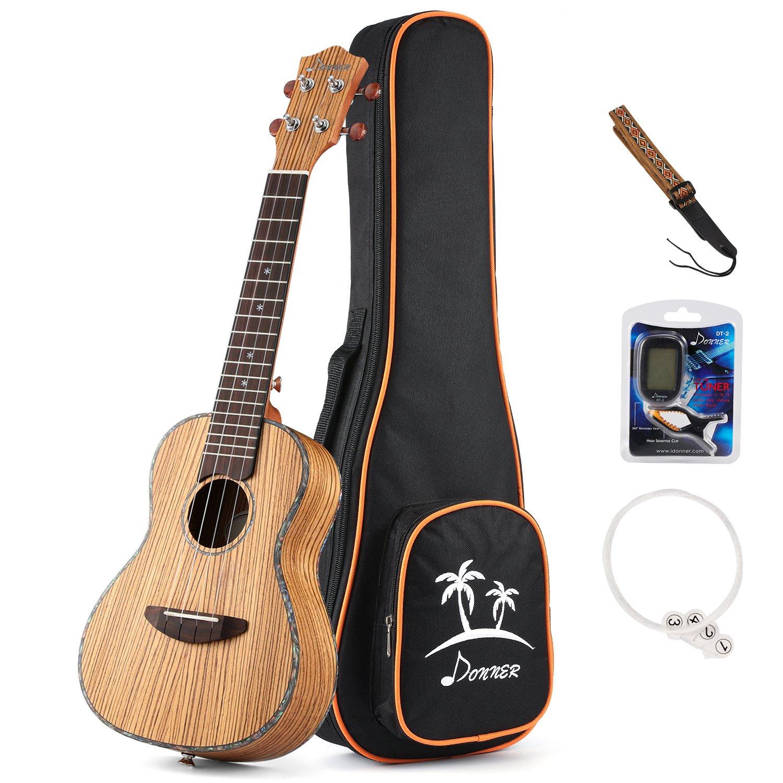 Donner Zebrawood Ukulele Concert DUC-2 23 inch Ukulele Kit with Case Tuner Strap Nylon String