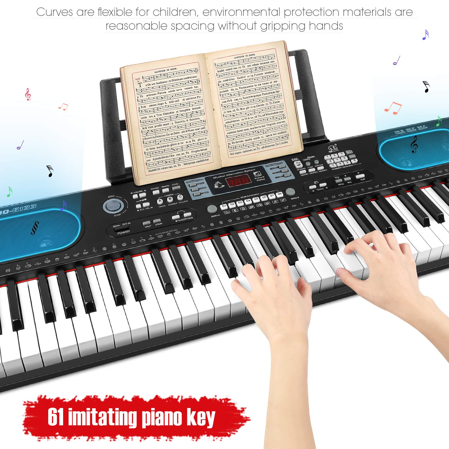 ZJTL 61-Key Digital Electric Piano Keyboard &Music Stand &microphone- Portable Electronic Keyboard (Kids & Adults) MQ-6133 by ZJTL (Image #4)