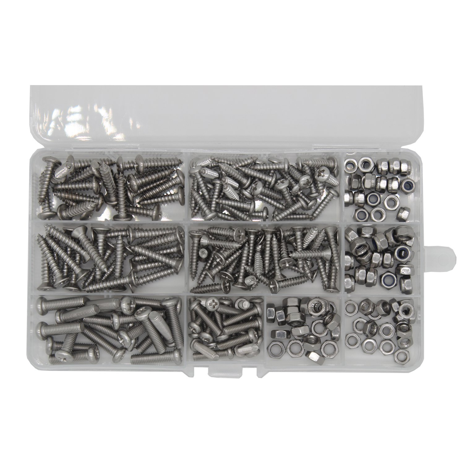 HUAYY 304 Stainless Steel Home use,bolts Hex Lock Nuts and Washer or flat mat Assortment Kit,Phillips Flat/Pan,Machine/Tapping Screws