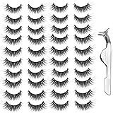 20 Pairs Handmade False Eyelashes Long Thick Lashes Makeup with False Lashes Tweezers Black