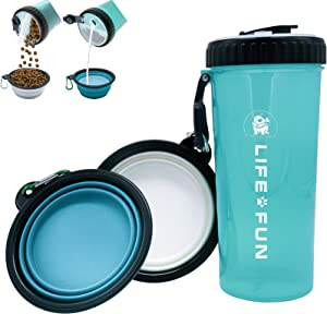 LIFE4FUN Dog Water Bottle for Walking and Food Container 2 in 1 with Dog Water Bowl Collapsible, Travel Dog Water Dispenser for Pets, (XL Size, Blue)