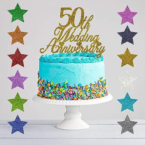 50th Wedding Anniversary Glitter Cake Topper Golden Wedding
