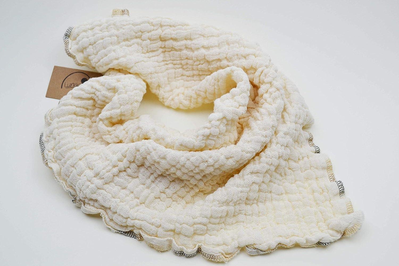 Mulltuch aus Bio-Baumwolle, Halstuch, Spucktuch, Stoffwindel, Babys, Frü hchen, Kinder, Musselin, Mä dchen, Junge, Naht creme, beige, natur, braun