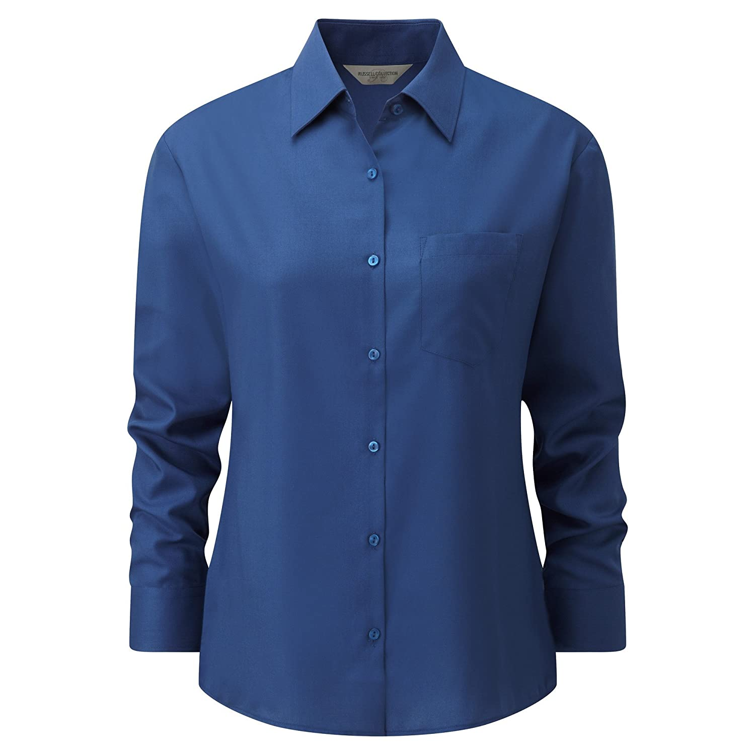 Russell Collection Easy Care Poplin Bluse, Langarm: Amazon.de: Bekleidung