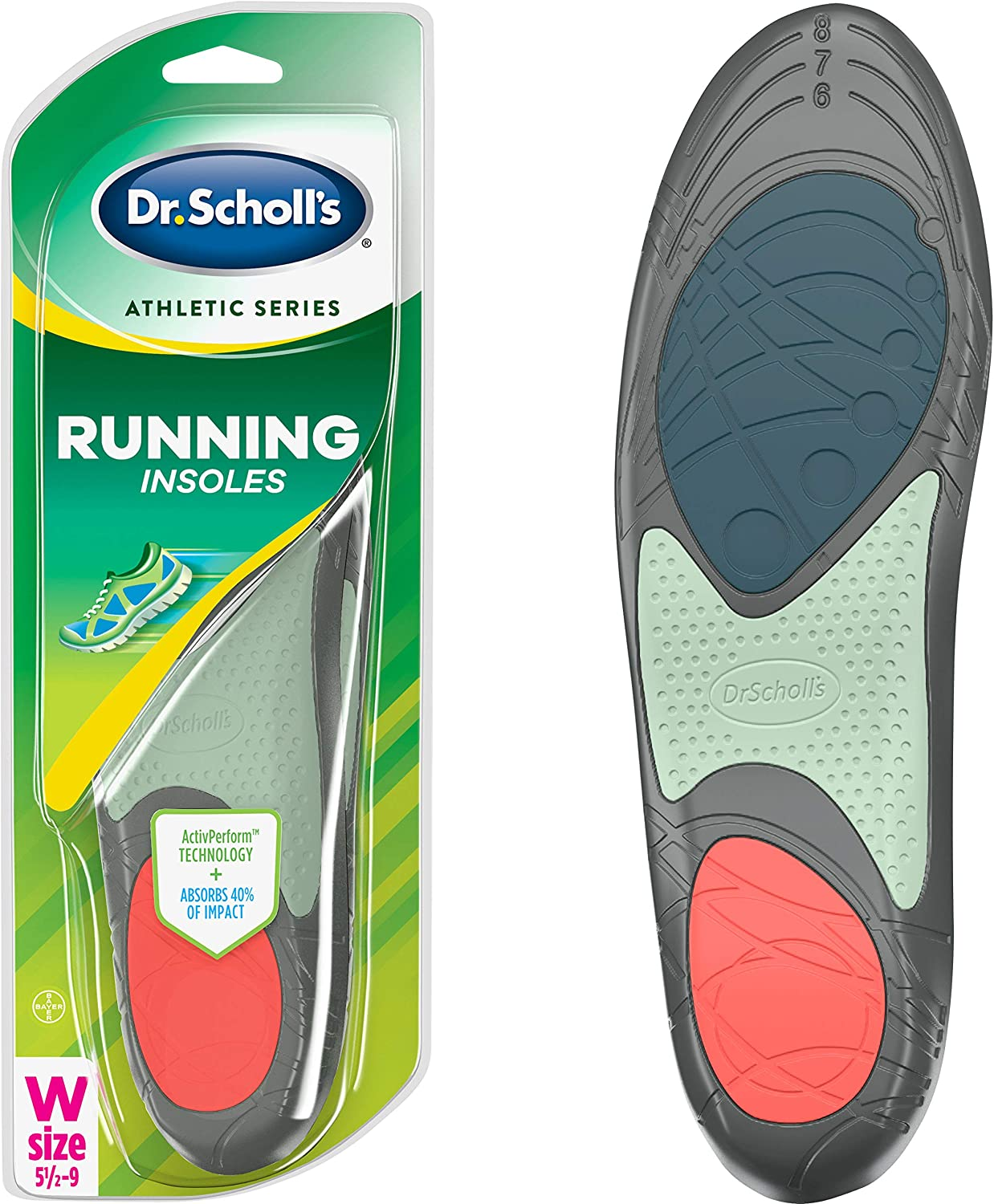 Dr. Scholl's RUNNING Insoles // Reduce Shock and Prevent Common Running Injuries: Runner's Knee, Plantar Fasciitis and Shin Splints (for Women's 5.5-9, also available for Men's 7.5-10 & Men's 10.5-14): Health & Personal Care