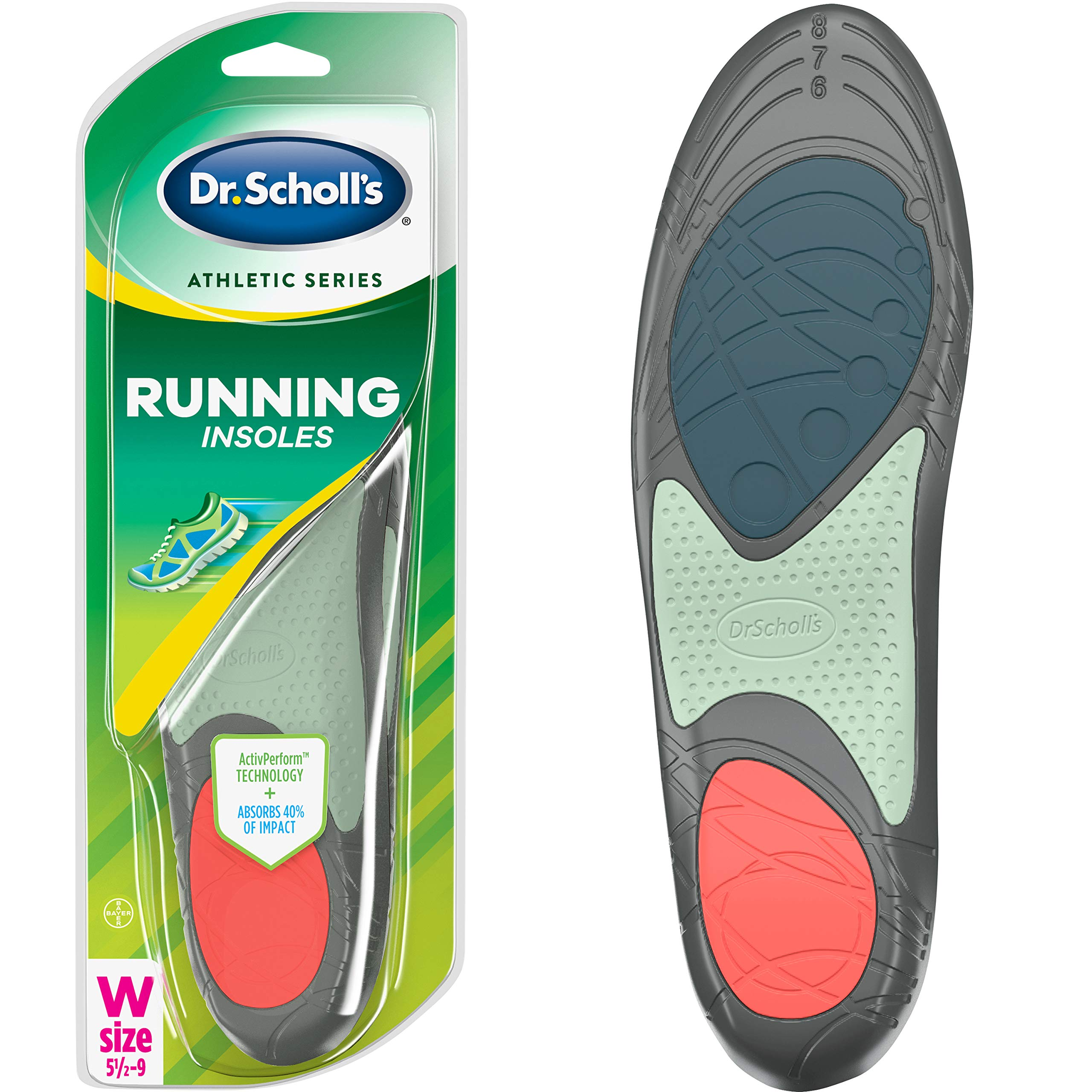 Dr. Scholl's RUNNING Insoles // Reduce Shock and Prevent Common Running Injuries: Runner's Knee, Plantar Fasciitis and Shin Splints (for Women's 5.5-9, also available for Men's 7.5-10 & Men's 10.5-14) by Dr. Scholl's
