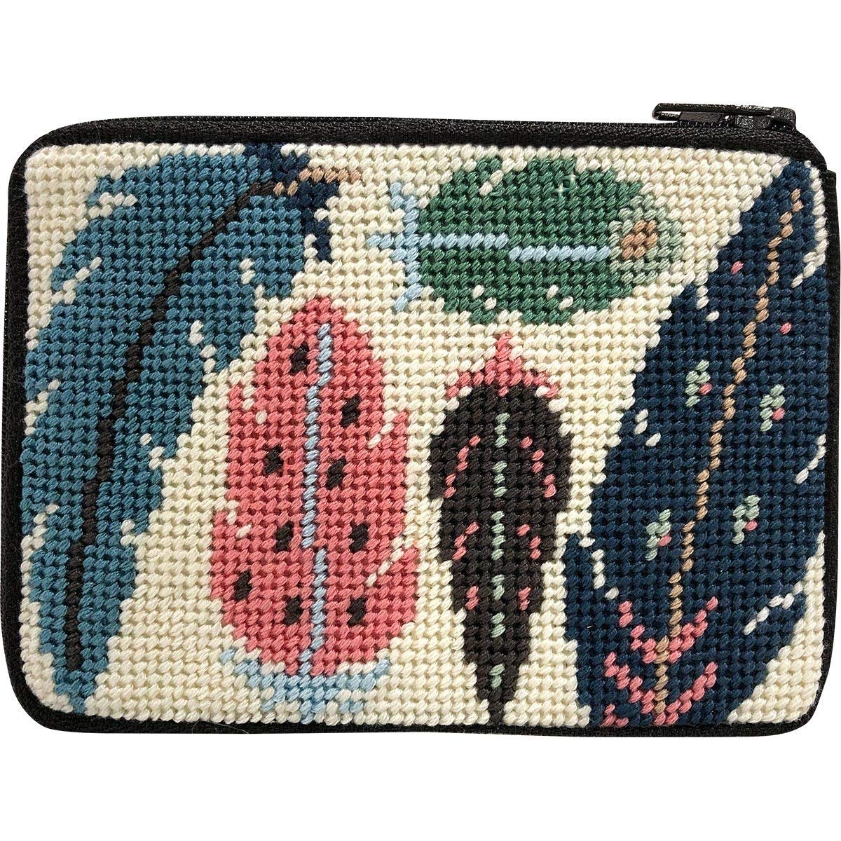 Stitch /& Zip Needlepoint Coin Purse Kit Feathers