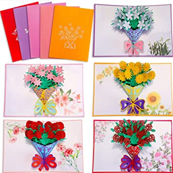 3D Pop Up Greeting Cards Red Peony Birthday Valentine Mother Day Christmas