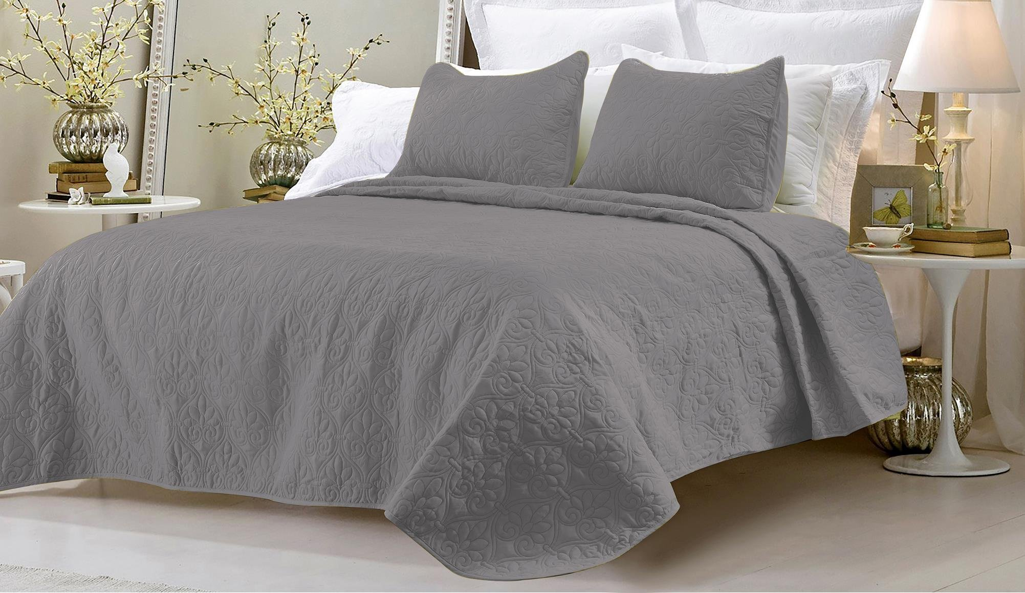 Oversized - 3 Piece 100% Cotton Quilted Coverlet Set - Gray - King/California King 104 x 96 Inches Wrinkle/Fade Resistant Light Weight Luxurious All Season Super Soft Machine Washable