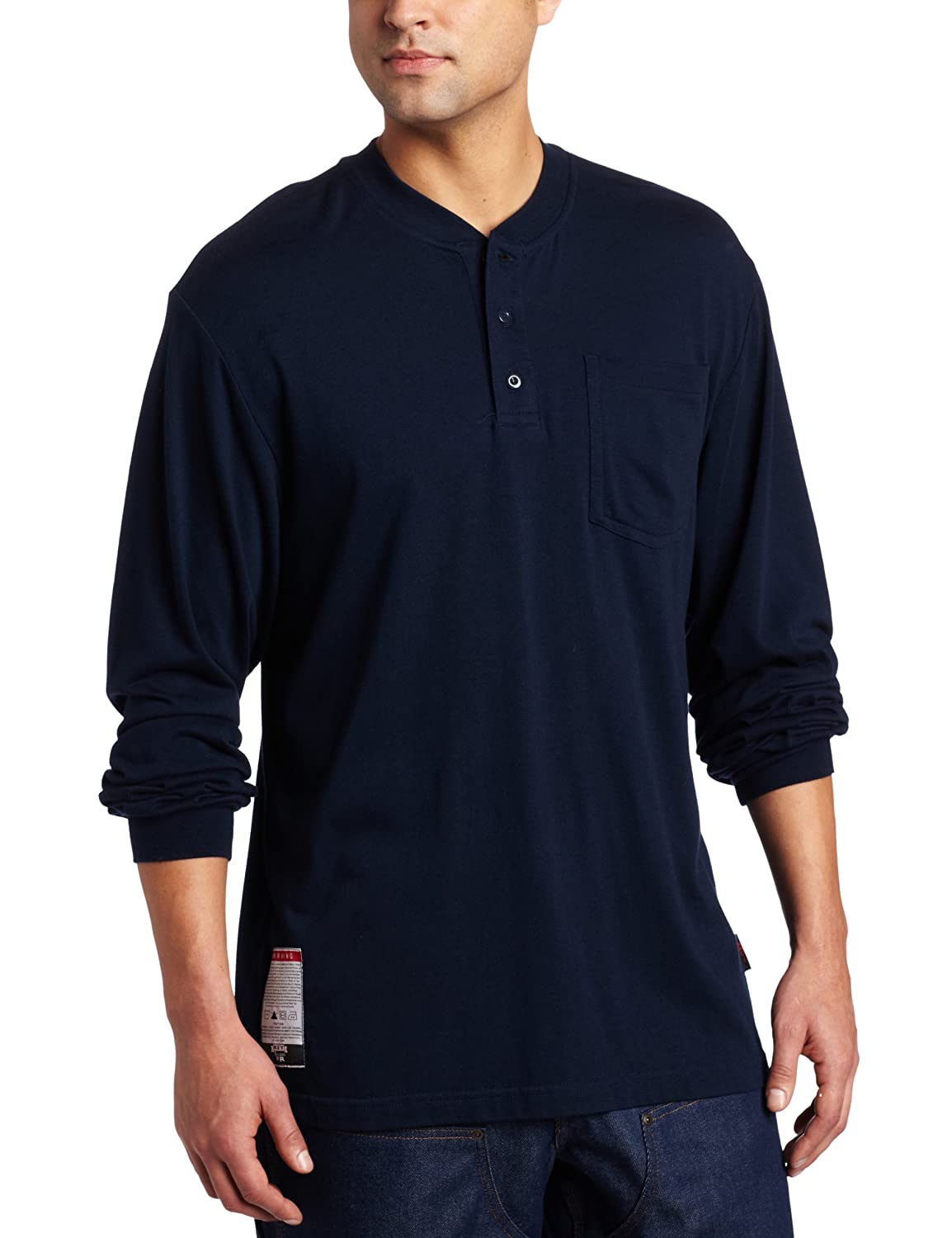 Key Apparel Men's Flame Resistant Long Sleeve Pocket Henley Tee Shirt 855