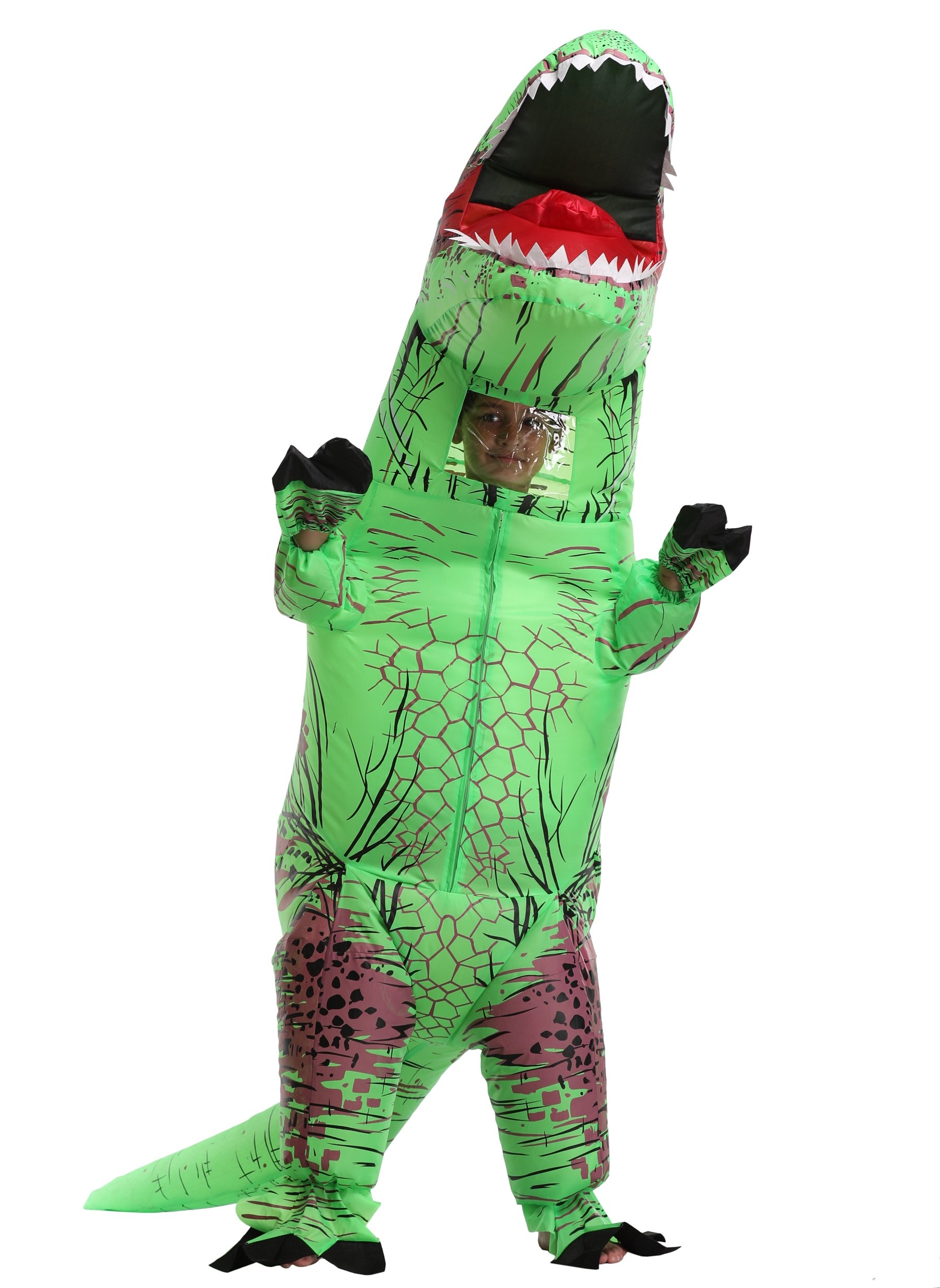 Unisex Kids Christmas Costume Jurassic T-Rex Inflatable Costume, child, Green