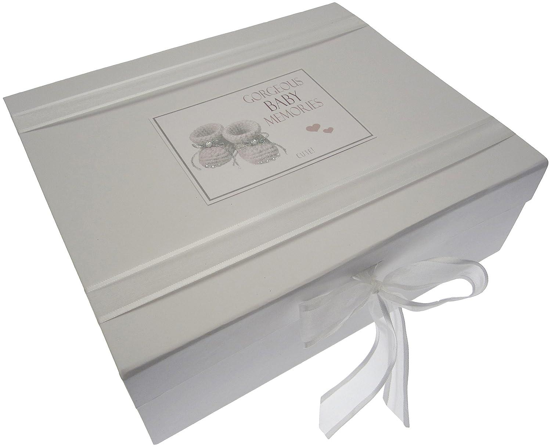White Cotton Cards Gorgeous Baby Memories, Large Keepsake Box, Silver Booties BOS2X