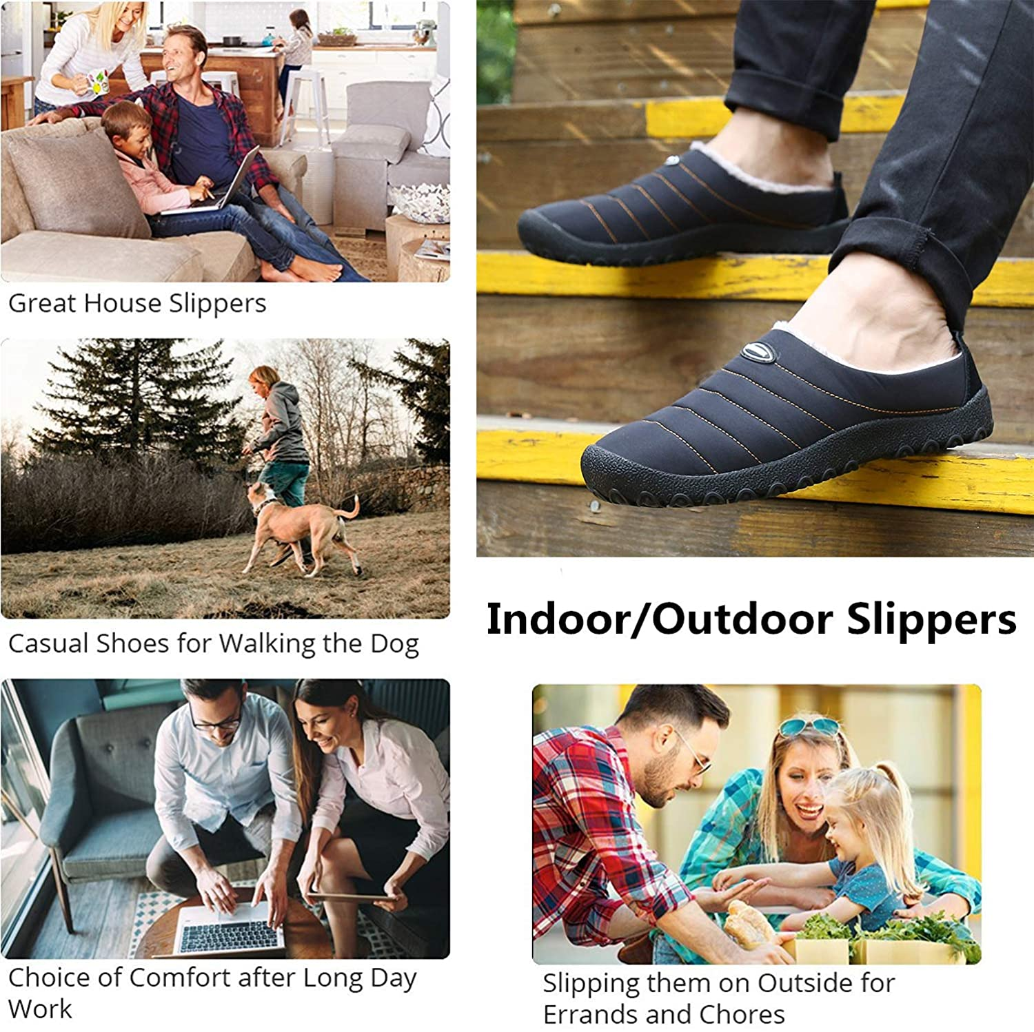 YOOEEN Mens Womens Indoor Outdoor Slippers Waterproof Fur Lined House Slippers Winter Snow Warm Shoes