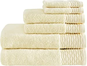 Madison Park Breeze 100% Cotton Jacquard Wavy Border Zero Twist Absorbent Super Soft Hotel Bathroom Towel Set Shower Hand Face Washcloths, Assorted Sizes, Yellow 6 Piece