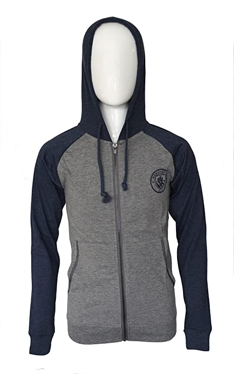 f48fa0f3184 Manchester City Hoodie Soccer Fz Summer Light Zip up Jacket Lightweight  Grey Youth (Gray