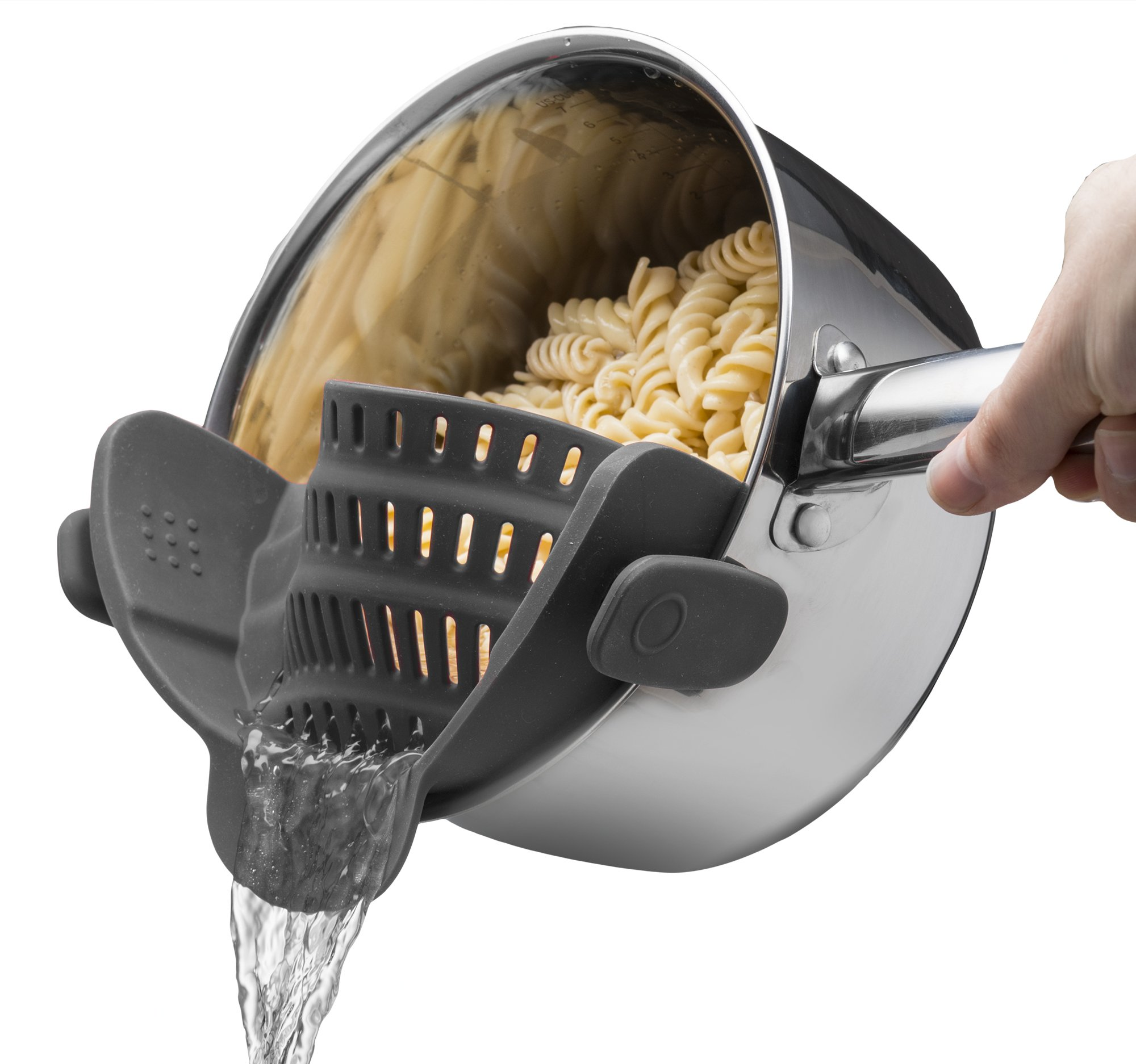 Kitchen Gizmo Snap N Strain Strainer, Clip On Silicone Colander, Fits all Pots and Bowls - Grey