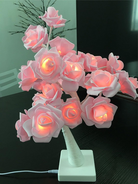Table Lights Tree Shape 24Warm White LEDs Battery Operated1.44Ft Desk Lamp Pink Adjustable Rose Flower Fairy Lights Adjustable Bedroom Light Living Room Holiday Decorations for Velentine/'s Day SmartDirect